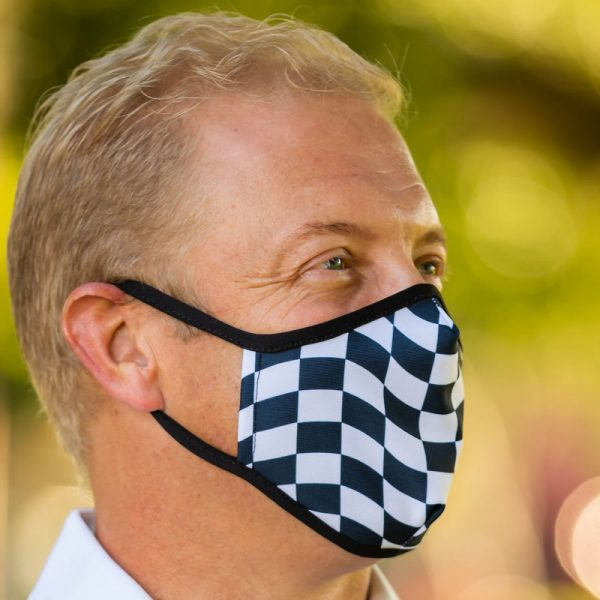 Made in Nevada Black and White Checkered Face Mask