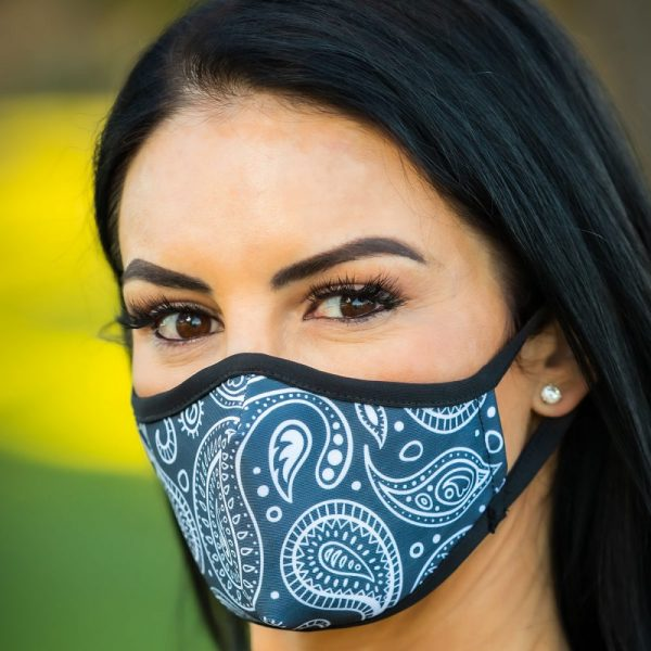 Made in Nevada Large Paisley Black & White Face Mask