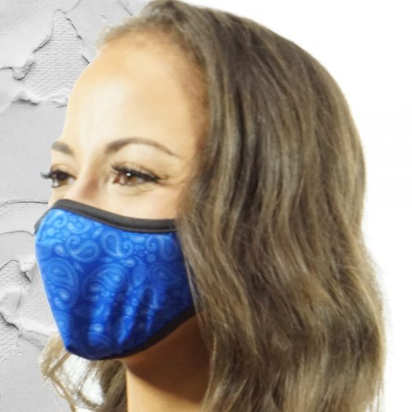 Made in Nevada Small Paisley Blue & White Face Mask