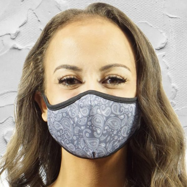 Made in Nevada Small Paisley Gray & White Face Mask