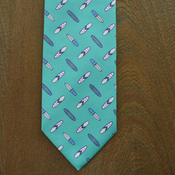 Made in Nevada Green necktie with surfboards