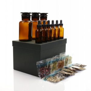 Mad Scientist Kit with black box and amber bottles