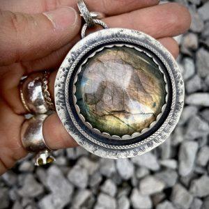 Labradorite Medallion Pendant, Open Back on Shop Made in Nevada