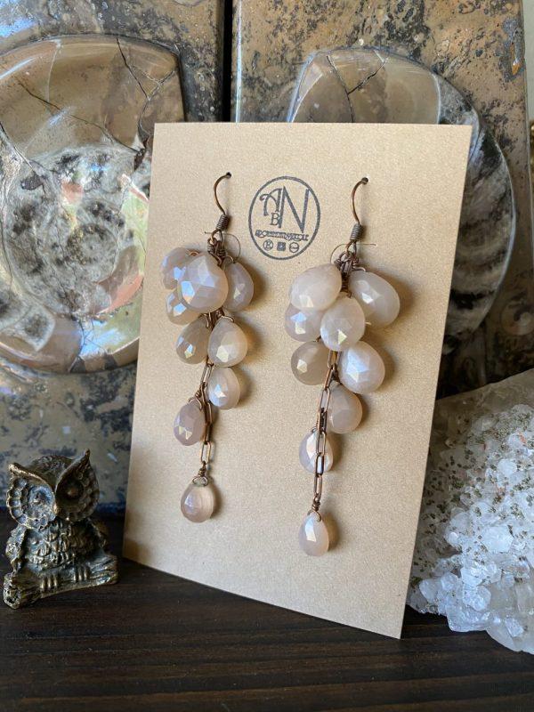 Peach Moonstone Earrings on Shop Made in Nevada