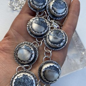 Moon Phase Dendritic Agate Necklace on Shop Made in Nevada
