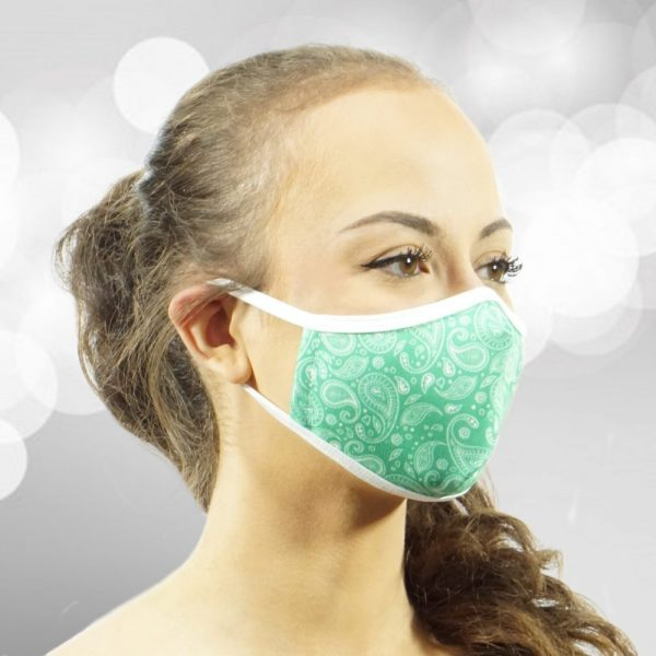 Made in Nevada Small Paisley Mint & White Face Mask