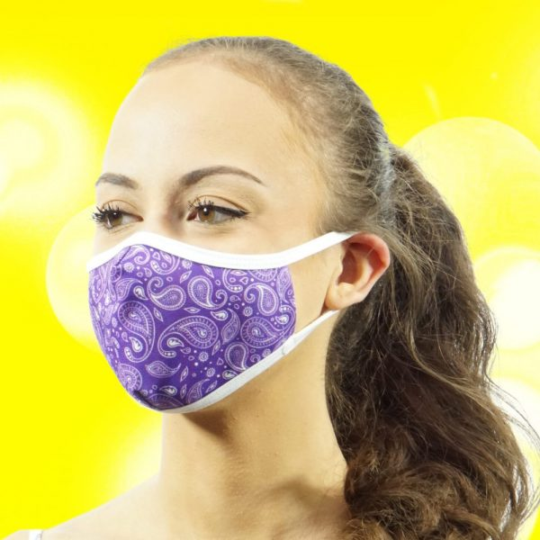 Made in Nevada Small Paisley Purple & White Face Mask