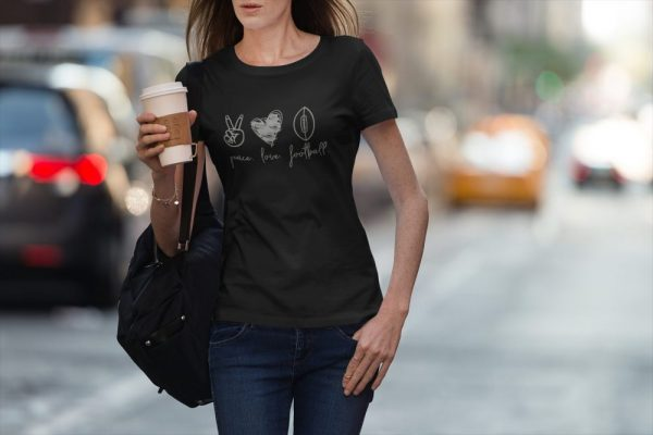 Made in Nevada Peace Love Football Ladies T-shirt