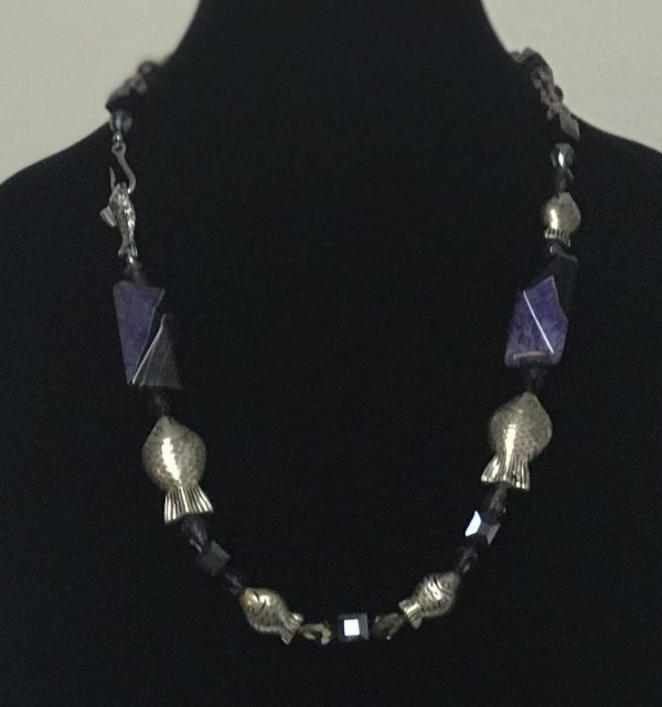 Made in Nevada Onyx & Quartz Silver Fish Necklace, by Soul & Spirit Jewelry