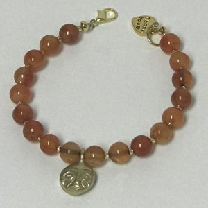 Made in Nevada Carnelian Bead with Gold African Mask Charm Bracelet by Soul & Spirit Jewelry