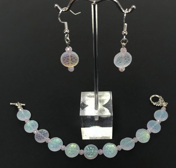 Made in Nevada Iridescent Snowflake Earring and Bracelet Set by Soul & Spirit Jewelry