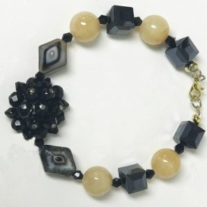 Made in Nevada Agate, Calcite and Crystal Floral Bracelet & Earrings by Soul & Spirit Jewelry