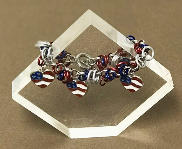 Made in Nevada American Flag Heart Chain Maille Bracelet Soul & Spirit Jewelry