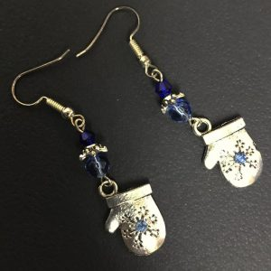 Made in Nevada Silver and Blue Rhinestone and Crystal Mitten Earrings, by Soul & Spirit Jewelry
