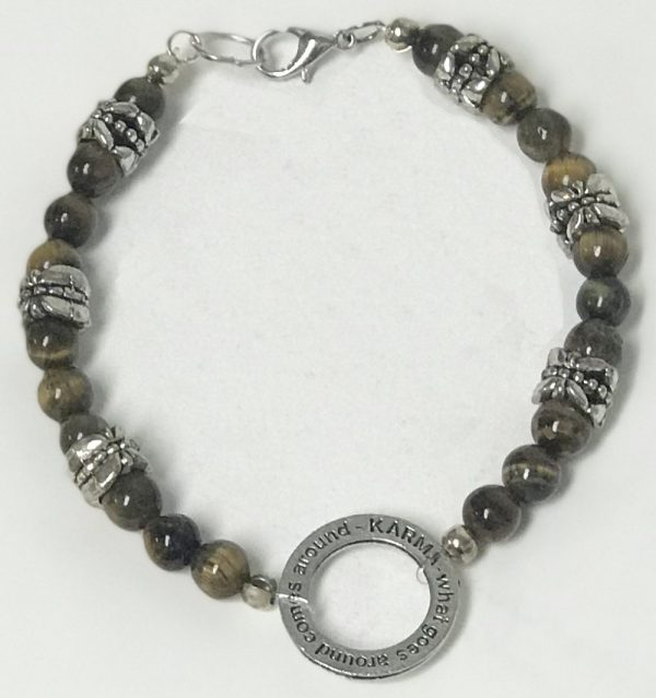 Made in Nevada Tiger's Eye, Silver Floral Beads & Karma Charm Bracelet & Earrings