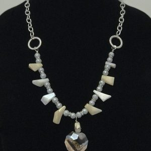 Made in Nevada Pink Opal & Silver Bib Necklace, by Soul & Spirit Jewelry