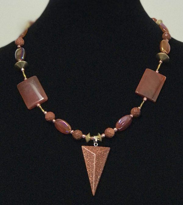 Made in Nevada SunStone & Fire Agate Necklace, by Soul & Spirit Jewelry