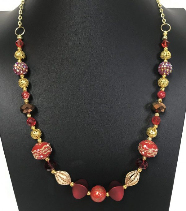 Made in Nevada Gold and Red Beads and Crystals Necklace, by Soul & Spirit Jewelry