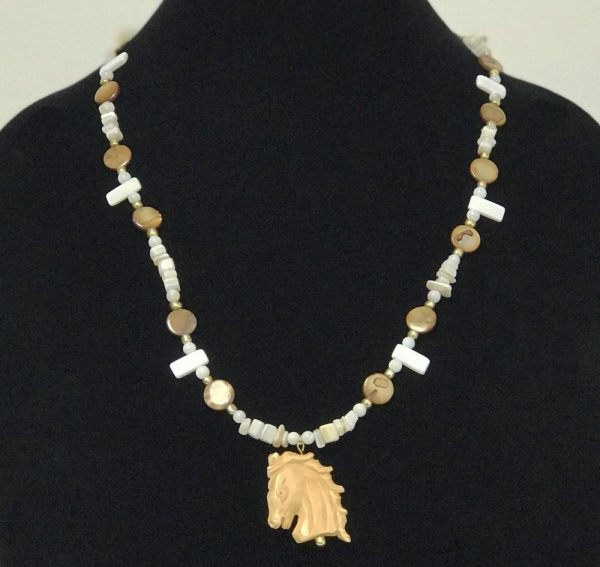 Made in Nevada Mother of Pearl with Carved Horse Necklace, by Soul & Spirit Jewelry