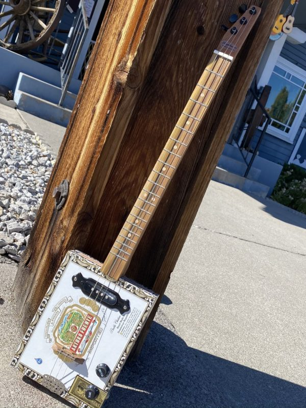 Made in Nevada Cigar box Slide Guitar White