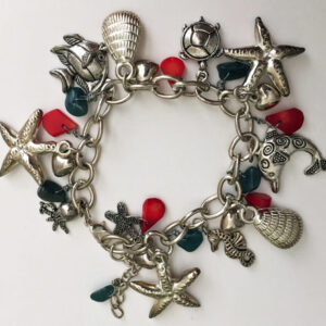 Made in Nevada Silver Seashore Charm Bracelet in Coral and Turquoise