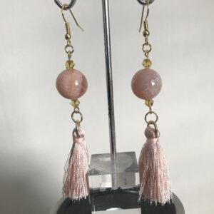 Made in Nevada Peach Quartz and Silk Tassel Earrings