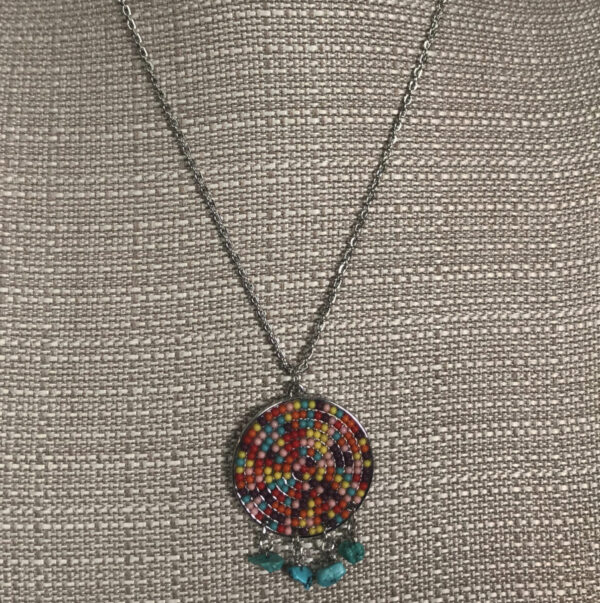 Made in Nevada Multicolored Beaded Medallion with Chuck Turquoise Necklace