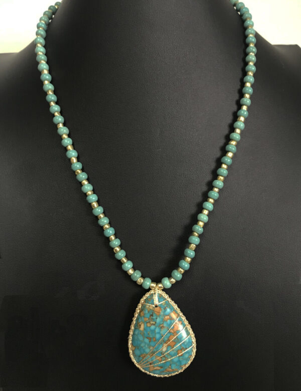 Made in Nevada Turquoise and Gold Embroidered Necklace