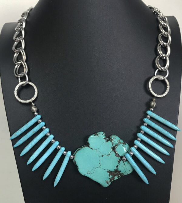 Made in Nevada Turquoise Slab and Spikes Fan Necklace