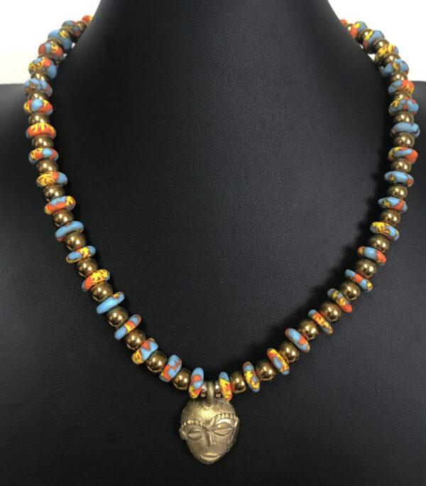 Made in Nevada Gold African Mask and African Bead Necklace