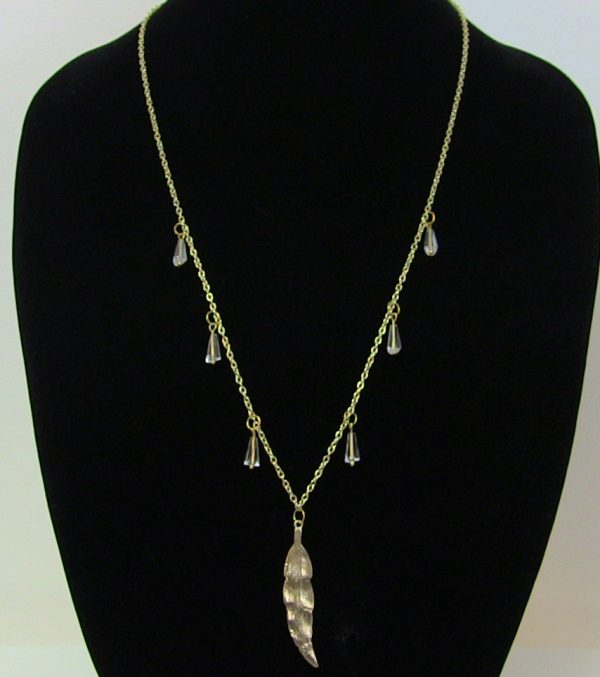 Made in Nevada Gold and Rhinestone Feather Necklace by Soul & Spirit Jewelry