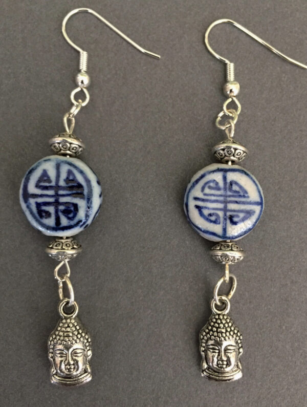 Made in Nevada Asian and Silver Buddha Earrings