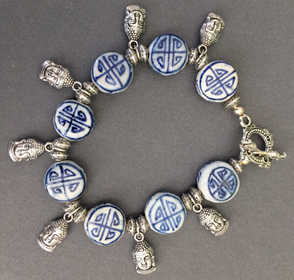 Made in Nevada Asian Delft and Silver Buddha Bracelet