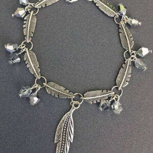 Made in Nevada Silver Feather Charm and Crystal Bracelet and Earring Set