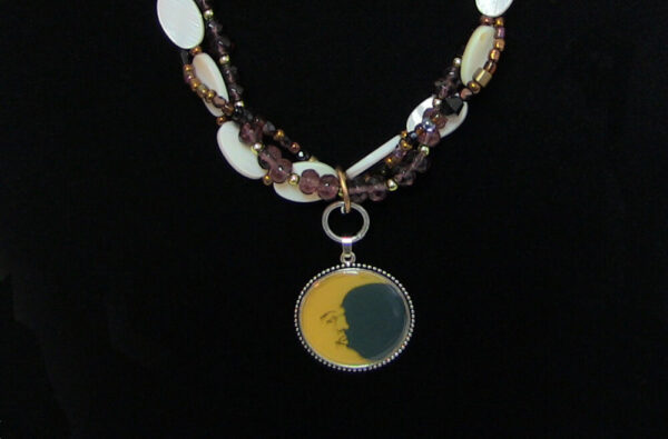 Made in Nevada Mother of Pearl & Crystal Moon Necklace