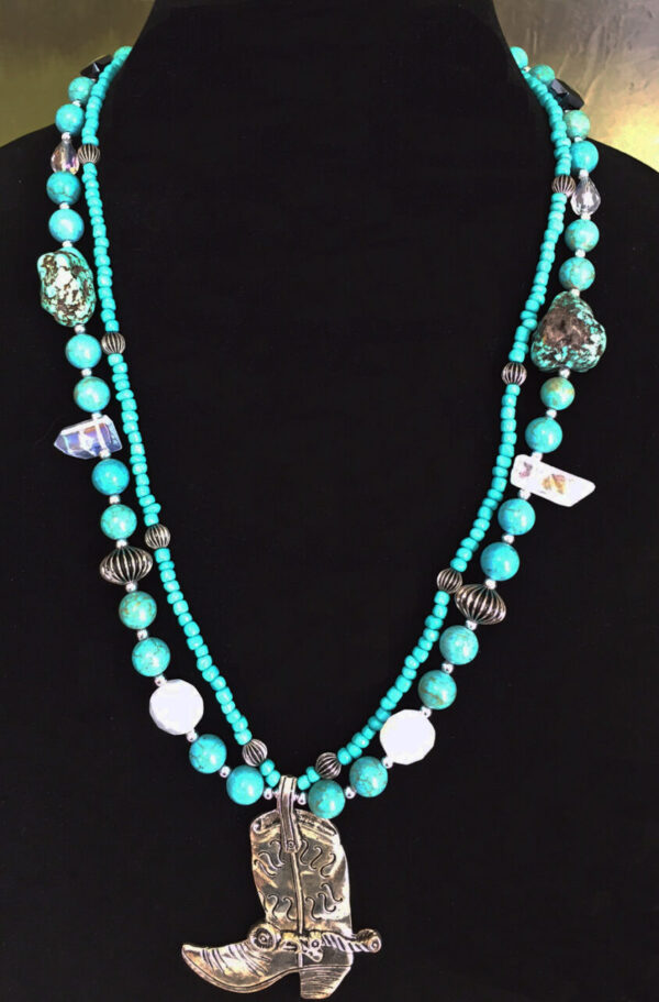 Made in Nevada Turquoise and Crystal Cowgirl Boot Necklace