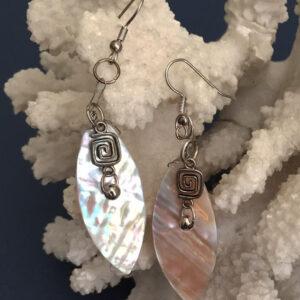 Made in Nevada Mother of Pearl Fan Earrings