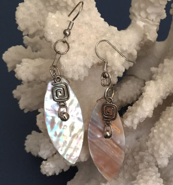 Made in Nevada Mother of Pearl Fan Earrings