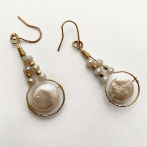 Made in Nevada Ariadne Pearl Dangle Drop Earrings
