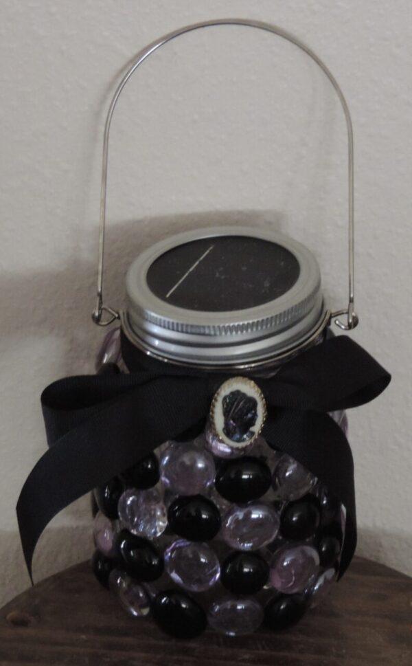 Made in Nevada Solar Lantern ~ Black & Purple Victorian Cameo