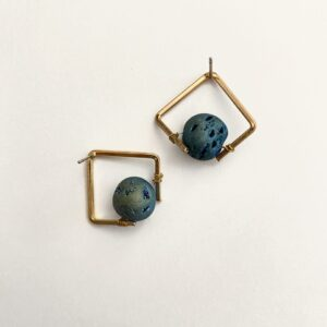 Made in Nevada Stacey Square Druzy Stud Earrings
