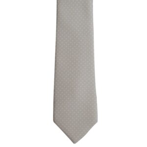 Beige necktie with tiny white polka dots