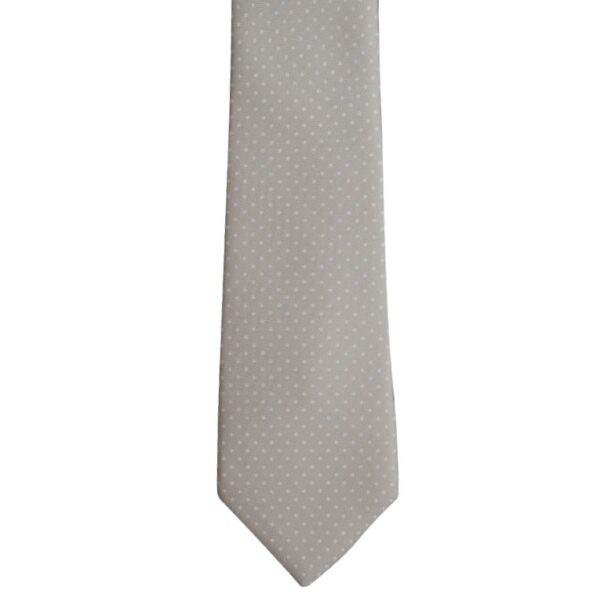 Made in Nevada Beige necktie with tiny white polka dots