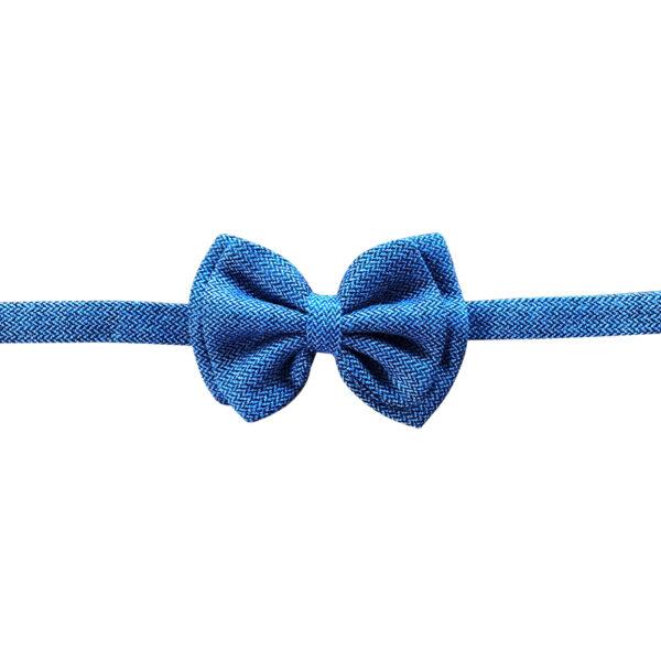 Made in Nevada Blue/Black wool bowtie with chevron design