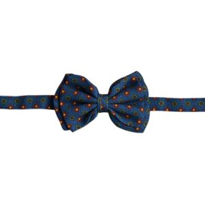 Made in Nevada Blue wool bowtie with green/red diamond design