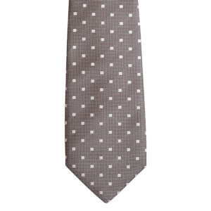 Brown necktie with white polka dots