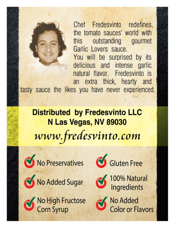 Made in Nevada Fredesvinto Garlic Lovers Gourmet Pasta Sauce