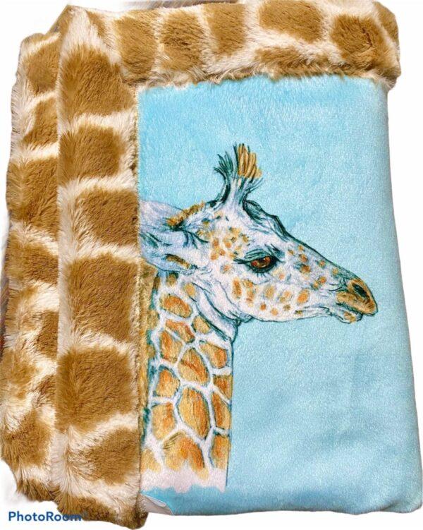 Made in Nevada Josie the Giraffe Minky Baby Blanket
