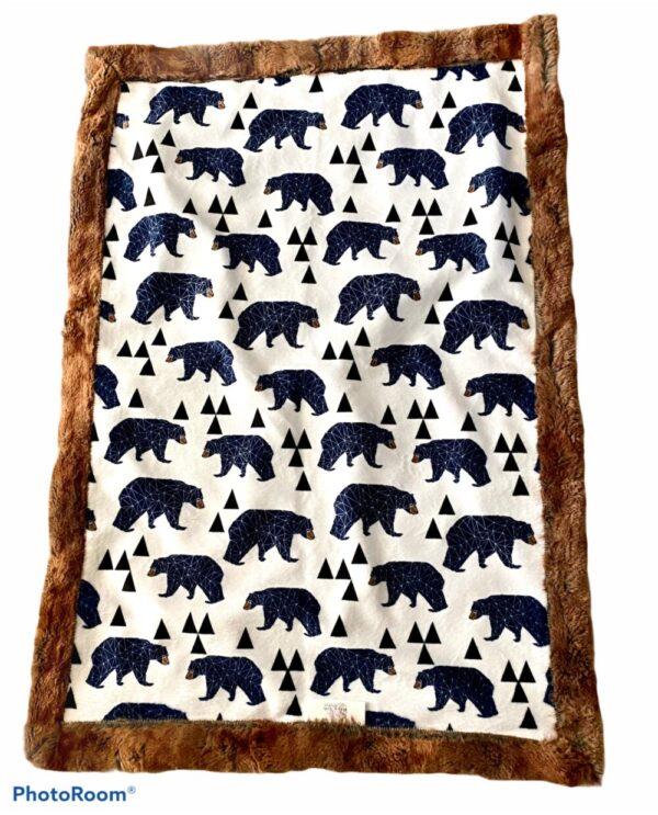 Made in Nevada Blue Bears Car Seat Blanket
