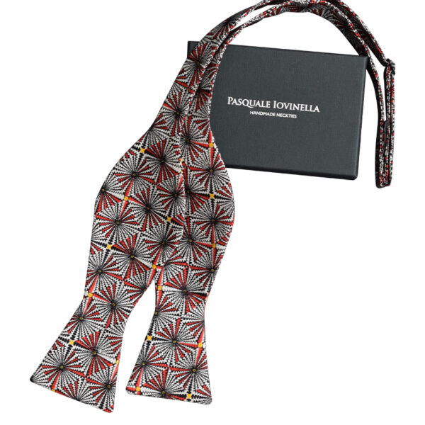 Made in Nevada Red, white and black geometric design bowtie